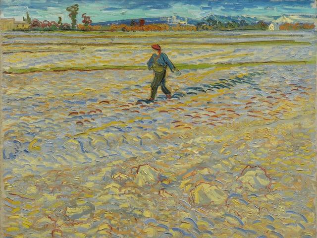 Das Gemälde mit einem Sämann auf einem gelben Feld