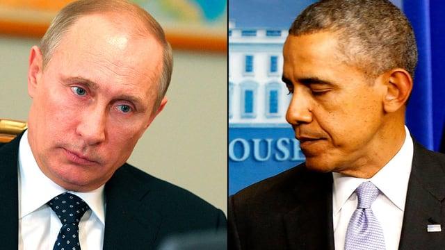 Portrait-Montage von Wladimir Putin und Barack Obama.