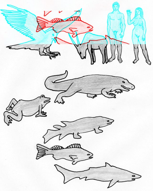 Zeichnung, die darstellt, das aus Tieren Menschen wurden.