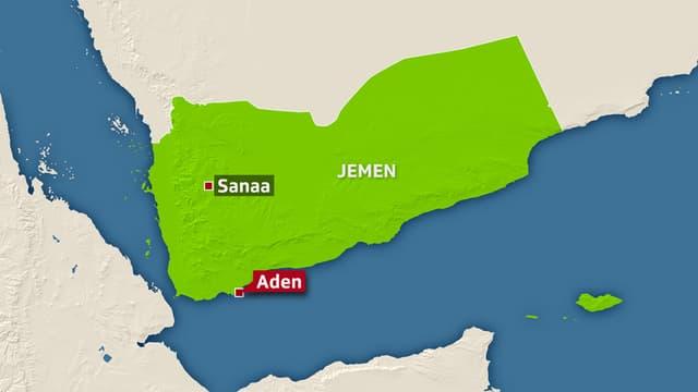 Carta dal Jemen cun nudà Aden e Sanaa