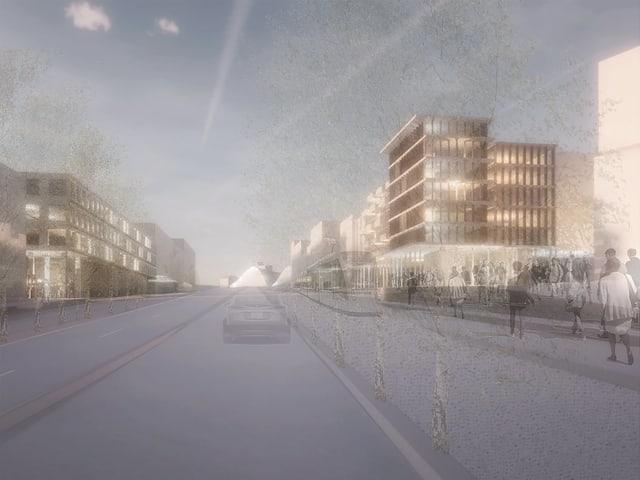 Visualisierung eines Stadtboulevards, im Hintergrund Zentrum Paul Klee.
