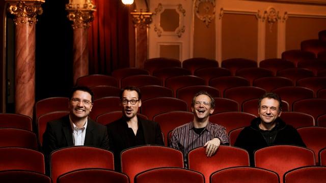 Führungscrew sitzt im Opernhaus: Christian Berner, Christian Spuck, Fabio Luisi und Andreas Homoki.