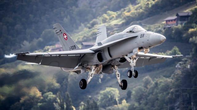 Eine F/A-18 bei der Landung.