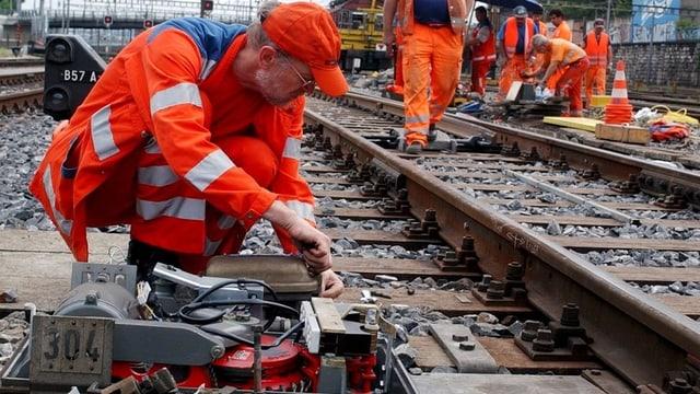 Gleisarbeiter an der Arbeit