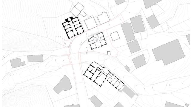 Situationsplan: Die Strassenanpassung in Mulegns