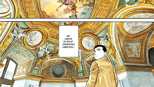 Comiczeichnung: Ein Mann in Jacket steht in einer Kirche und schaut kritisch.