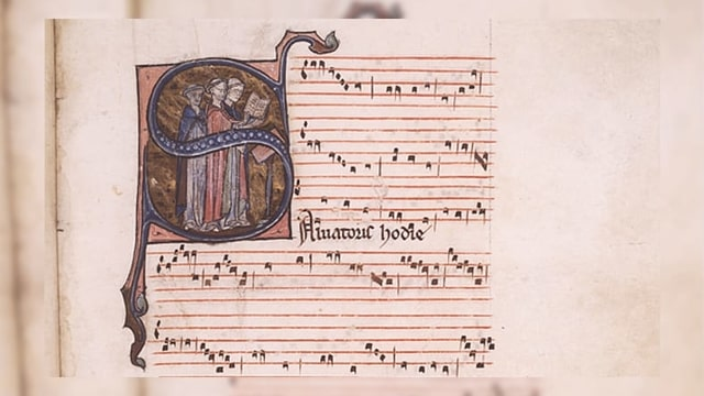 L'entschatta dal conductus Salvatoris hodie en notaziun modala.