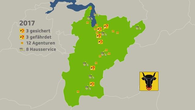 Karte des Kantons Uri mit eingezeichneten Poststellen, Agenturen und Hausservices.