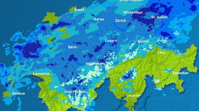 Radarbild: Grafik mit Schweizerkarte in grün. Darauf ist zu sehen, dass fast die ganze Schweiz blau eingefärbt ist.
