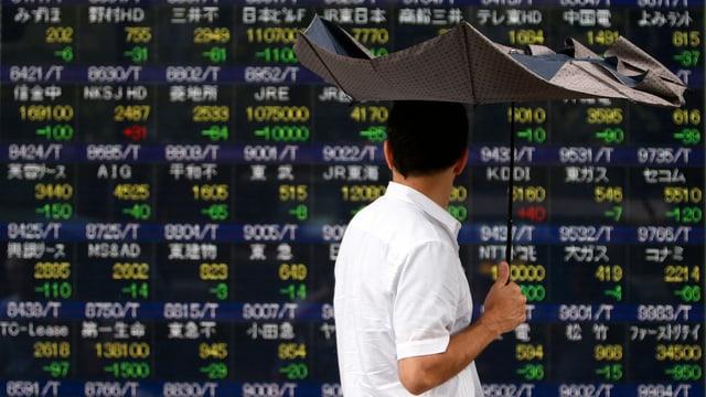 Börsenzahlen in Tokio.