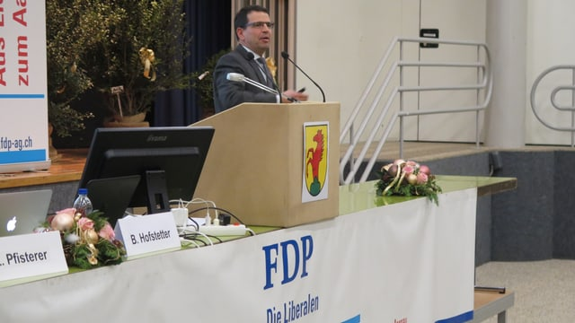 Mann an Rednerpult, Logo der FDP daran.