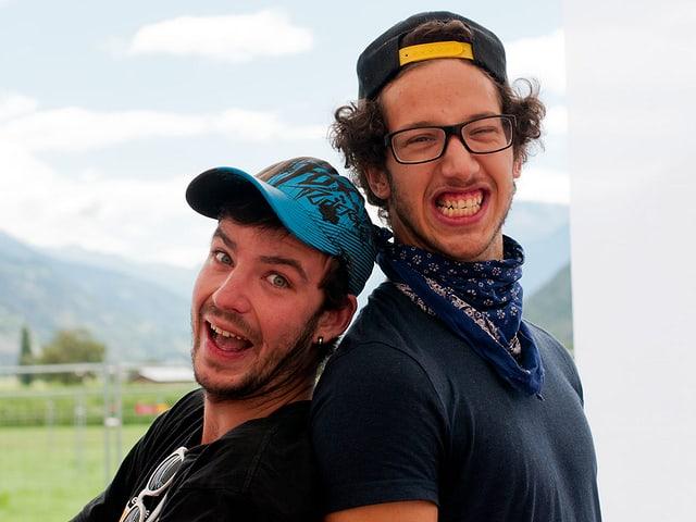 Michael (links) und Simon fuhren um 5.45 Uhr im Engadin los, um rechtzeitig um 11 in Gampel zu sein.
