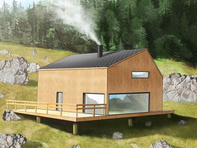 Aussenansicht eines Ferienhauses aus Holz.