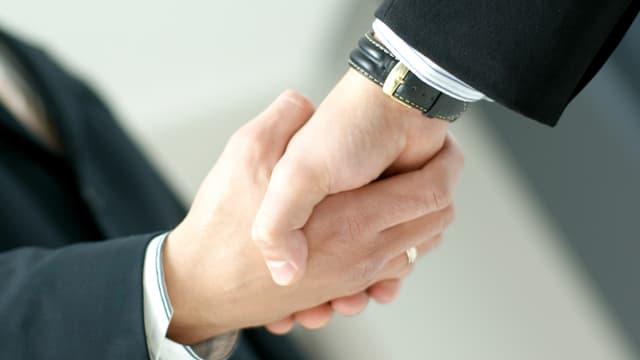 Zwei Geschäftsmänner reichen sich die Hände (Symbolbild).