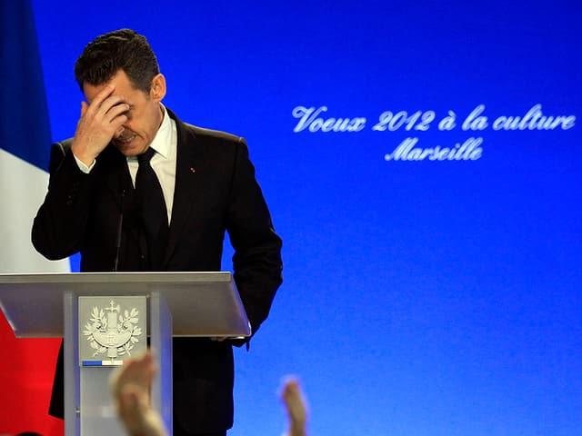 Sarkozy bei einer Rede zum Jahreswechsel 2011/2012 in Marseille.