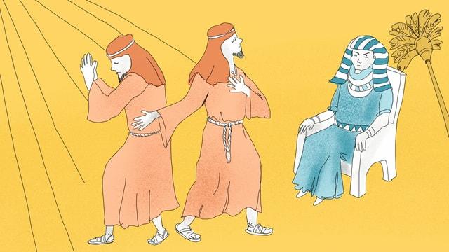 Eine Illustration von Moses und zwei Helfern.