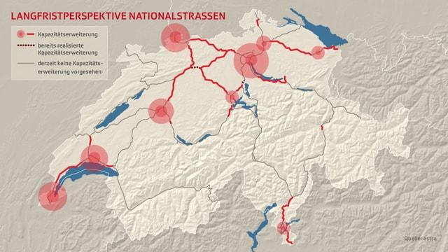 Karte der Schweiz mit den Plänen für Kapazitätserweiterungen der Autobahnen.