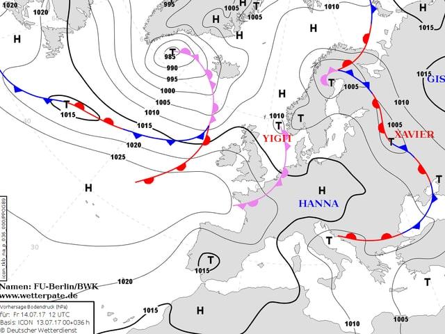 Eine Analysekarte zeigt wo die Hochs und Tiefs am Freitag liegen.