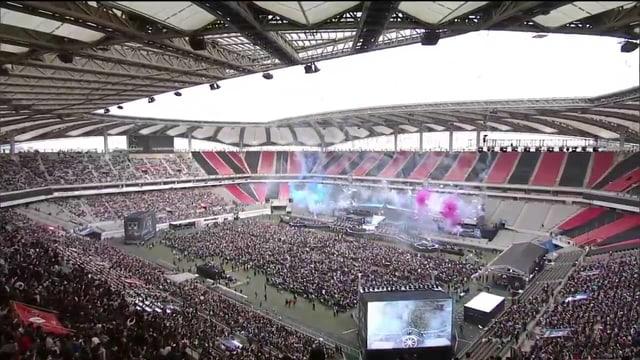 Das Seoul-World-Cup-Stadion in Südkorea von den hinteren Zuschauerrängen aus gesehen.