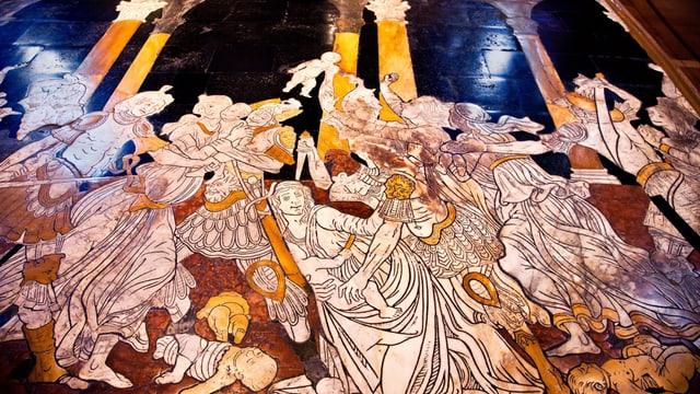 Ein verzierter Marmorboden: eine Gruppe von Leuten ist dargestellt.