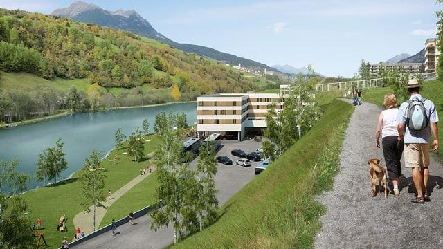 Visualisaziun cun vista vers l'hotel e bogn planisà.