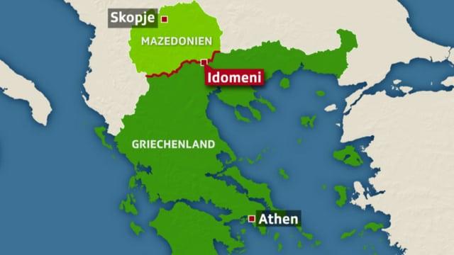 Karte Griechenland-Mazedonien