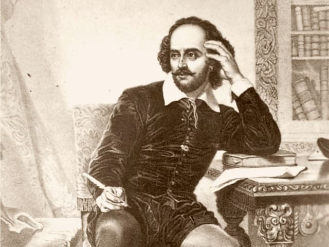 Man sieht eine Zeichnung, die William Shakespeare mit Schreibfeder in der Hand an einem Pult sitzend zeigt.