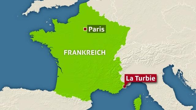 La Turbie liegt in Südfrankreich.