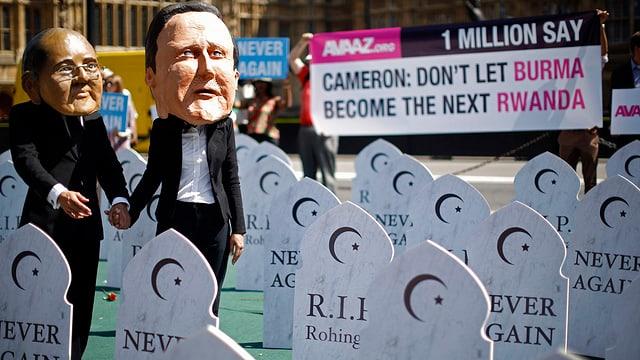 Masken von Thein Sein und Cameron