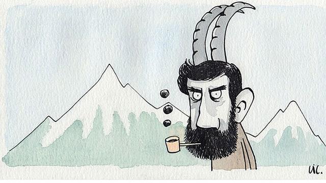 Ein Bündner mit Pfeife im Mund und Steinbock-Hörnern auf dem Kopf vor Bündner Bergen, Zeichnung.