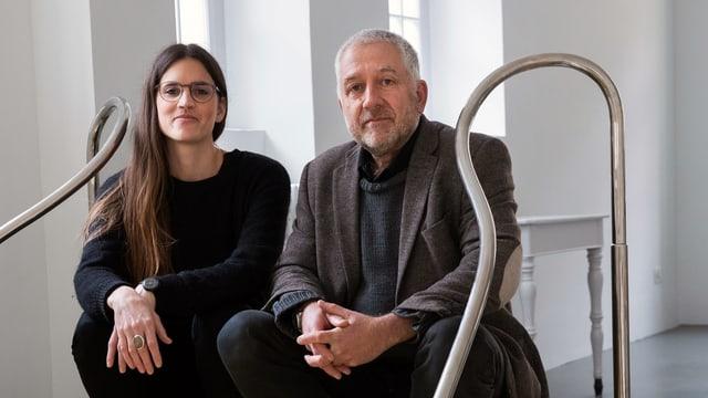 Sarah Fehr a sinistra e Christof Rösch dal center contemporan d'art Nairs