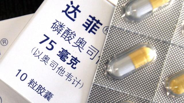 Zwei Packungen Tamiflu, eine auf Französisch und eine auf Chinesisch angeschrieben.