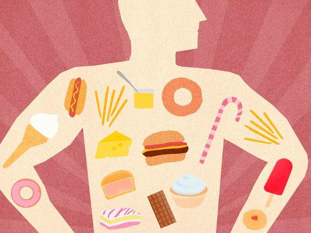 Illustration eines Mannes, auf dessen Oberkörper diverse Fast-Food-Gerichte abgebildet sind.