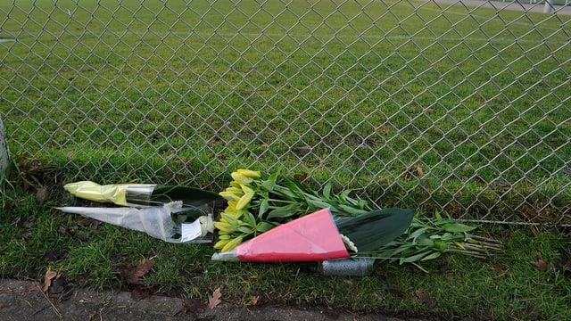 Blumen am Spielfeldrand erinnern an die Tat.