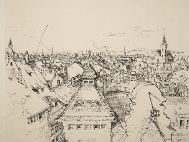 Tuschezeichnung, Basel