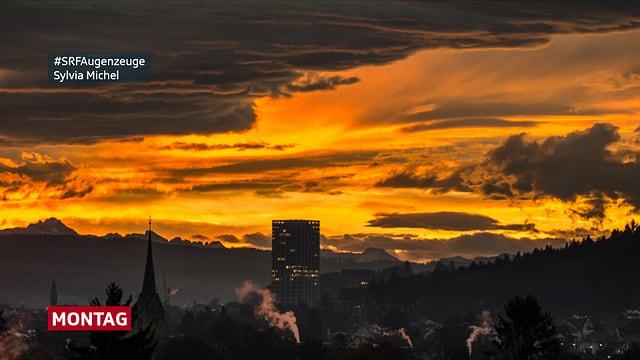 Morgenrot über den Dächern von Winterthur - Nummer 1