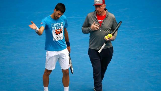 Novak Djokovic und Boris Becker.