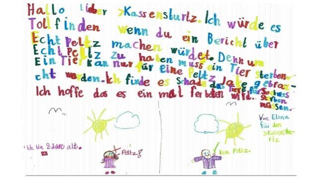 Brief mit Kinderschrift und Zeichnungen.