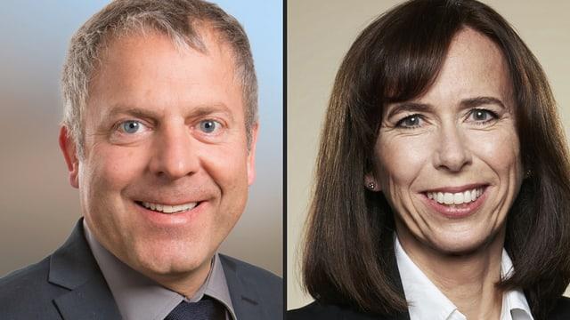 Porträts der beiden Kandidaten für de Bankrat der TKB: Roman Giuliani und Susanne Brandenberger.