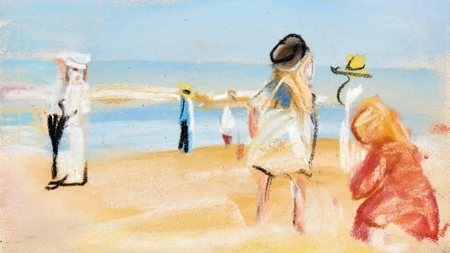 Leute am Strand.