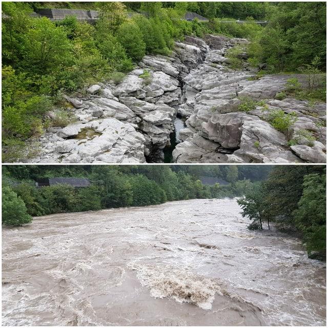 Oben Foto eines Flusses in Felsenschlucht mit wenige Wasser, unten mit extrem viel Wasser