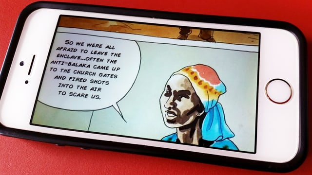 Comic: Sprechblase und der Kopf einer jungen Frau.