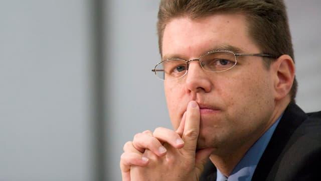 Aufnahme des Präsidenten der Kantonalen Volkswirtschaftsdirektoren, Andreas Rickenbacher.