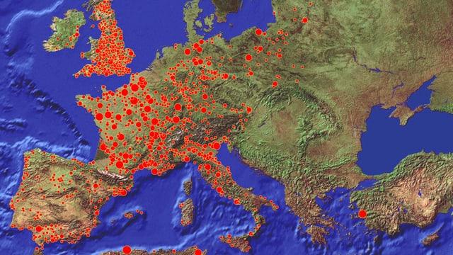 Eine Karte mit Pestfällen in Europa