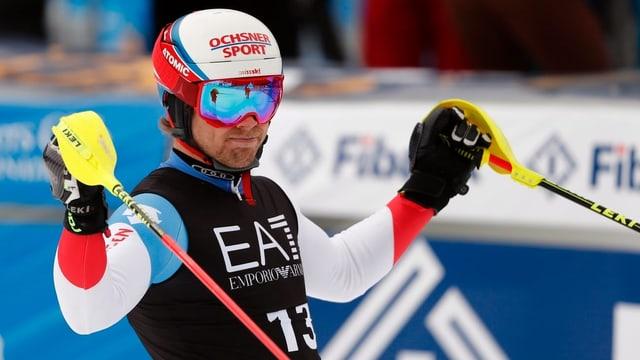 Purtret da Mauro Caviezel suenter il slalom.