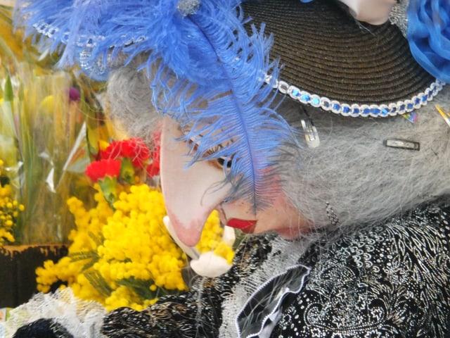 Lati Tante Larve mit blauer Feder und Mimosen.