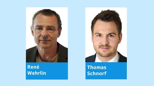 Porträtbilder von René Wehrling und Thomas Schnorf.
