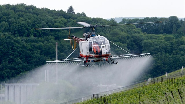 Ein Helikopter spritzt Reben