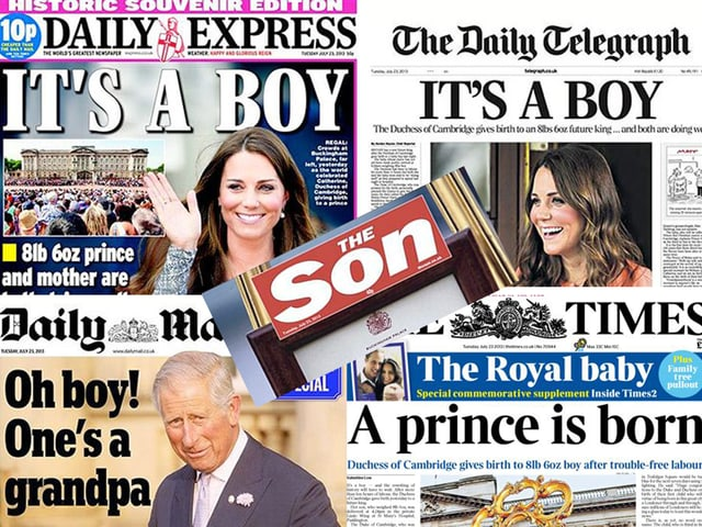 Zu sehen sind verschiedene Britische Tageszeitungen, die sich mit der Geburt des royalen Babies befassen.