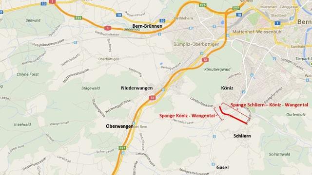 Eine Karte der Region, die Strasse ist rot eingezeichnet.